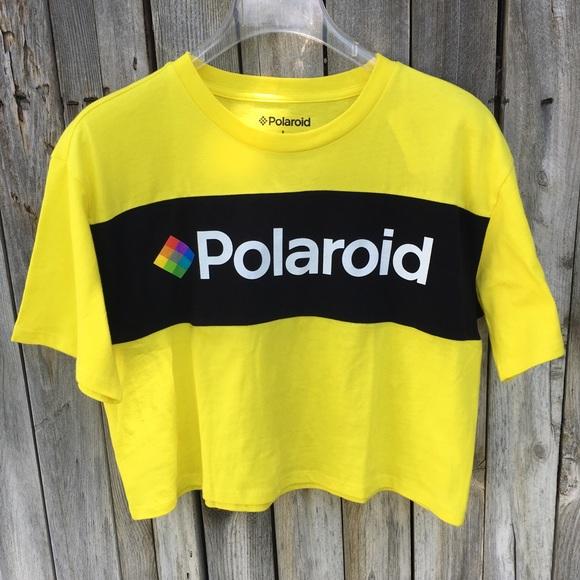 ce7f1c17 Polaroid Tops | Nwt Graphic Tee Cropped Neon Yellow L | Poshmark